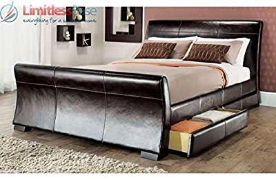 4ft 6in double leather sleigh bed dark brown with storage 4 x drawers by Layzze