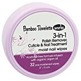 Bamboo Towelette Works 3-in-1 Cuticle and Nail Treatment Polish Remover, 32 Count