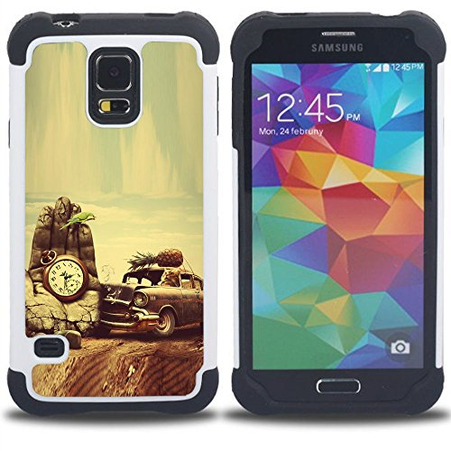 Momo Phone Case / Hybrid Protective Case Cover - Retro Vintage Old School Car Vignette - Samsung Galaxy S5 V SM-G900 (Galaxy S5 Old School Cars Case compare prices)