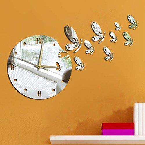 Dupin Llc (Tm)Silver Flying Butterflies Round Wall Mirror Clock Modern Design Removable Diy Acrylic 3D Mirror Wall Decal Wall Sticker Home Decoration