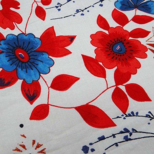 """Weiß Blumendruck-Blau 43 """"Breite reiner Baumwolle Tischdecke werfen Nähen Stoff Von Per Yard"""