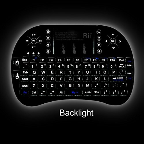 Rii 2 4GHz BACKLIT Wireless Mini Kodi Keyboard with Touchpad Mouse for  Raspberry Pi 2, MacOS, Linux, HTPC, IPTV, Google Android TV Box, Windows  (i8+)
