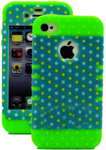 Mylife Green - Colorful Polka Dot Series (3 Piece Protective) Hard And Soft Case For The Iphone 4/4S (4G) 4Th Generation Touch Phone (Fitted Front And Back Solid Cover Case + Internal Silicone Gel Rubberized Tough Armor Skin)