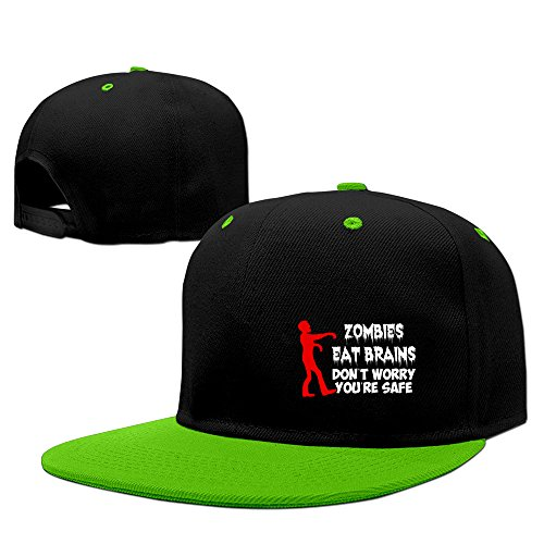 Zombies Eat Brains Don't Worry You're Safe Hippie Snapback Hats Dancing Fit KellyGreen