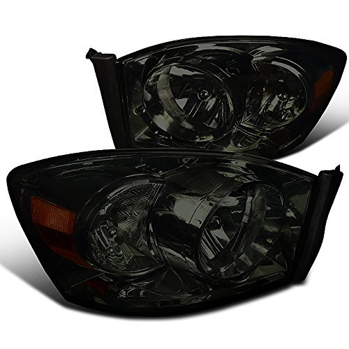 Spec-D Tuning 2LH-DGP06G-RS Dodge Ram Truck Smoke Diamond Headlights W/O Amber Bar (Dodge Ram 1500 Smoked Headlights compare prices)