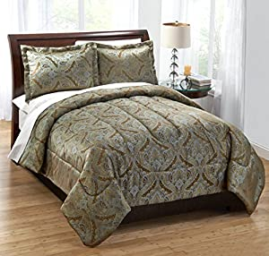 Regal Home Collections 3-Piece Catania Woven Jacquard Comforter Set, King, Sage