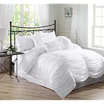 Create a world of romance with the elegantly-styled, ruching,and luxurious all white comforter set.