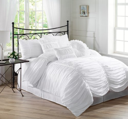 Chezmoi Collection 7-Piece Chic Ruched Duvet Cover Set, King, White front-16333