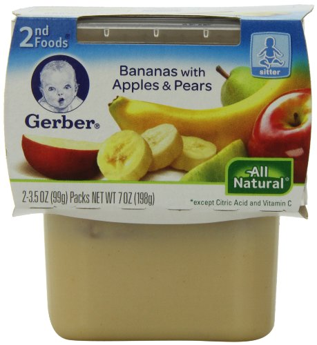 Gerber 2Nd Foods Bananas With Apples & Pears, 2-Count, 3.5-Ounce Tubs (Pack Of 8) front-60518
