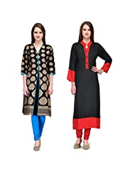 Cenizas Women's Cotton Black Kurtas Pack Of 2 ( 2169BLK & 2170BLK)