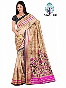 Winza New & latest printed bhagalpuri cotton wedding saree for ladies girls (Great indian diwali Sale offer deal)