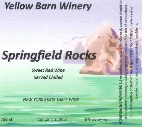 "Nv Yellow Barn Winery ""Springfield Rocks"" Sweet Red 750 Ml"