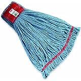 """Rubbermaid Web Foot Shrinkless Wet Mop, 5"""" Headband, Blue"""