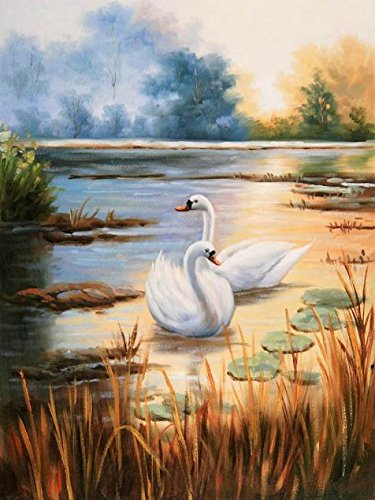 oil-painting-swans-in-a-beautiful-lake-10-x-13-inch-25-x-34-cm-on-high-definition-hd-canvas-prints-i