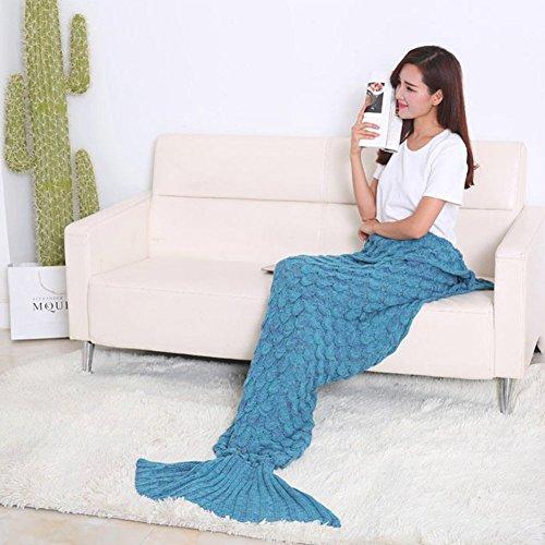 MAIKEHIGH Fish-scale Mermaid Tail Sofa Air Conditioning Blanket, Sleeping Blankie Adult/Teen Sleep Bag Bed (Green) by MAIKEHIGH