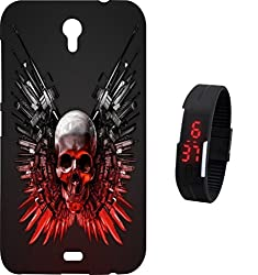 BKDT Marketing Printed Back Cover for Micromax Canvas Mega 2 Q426 with Digital Watch