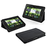 Snugg Blackberry Playbook Leather Case in Black - Flip Stand Cover with Elastic Strap and Premium Nubuck Fibre Interior for Blackberry Playbook