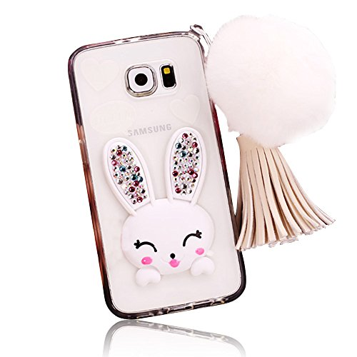 Sunnycase® Samsung Galaxy S7 Edge Coque Transparente 3D Lapin Case Silicone Bunny Souple TPU Cover avec Fonction Stand [oreille de Rabbit] Bling Crystal Etui Housse de Protection [Pare-Chocs] Shell Skin pour Samsung Galaxy S7 Edge SM-G935F - Blanc