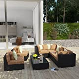 LexMod Dreamscape Outdoor Wicker Patio 7-Piece Sectional Sofa Set, Espresso Mocha