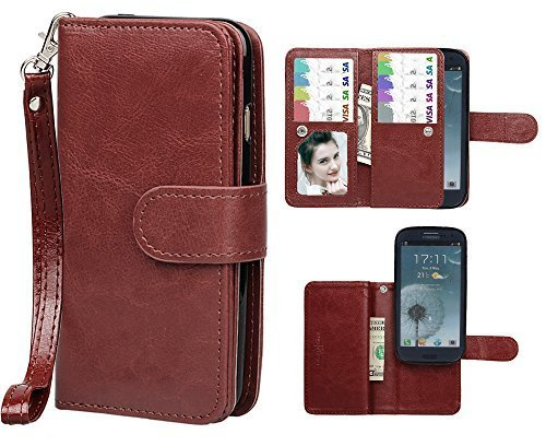 Samsung S3 Case, xhorizon TM FLK Premium Leather Folio Wallet Magnetic Wristlet Purse Soft Flip Multiple Card Slots Case for Samsung Galaxy S3 i9300 (Coffee) (Wristlet For Samsung Galaxy S3 compare prices)
