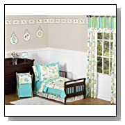 Turquoise and Lime Layla Girls Toddler Bedding 5pc Set