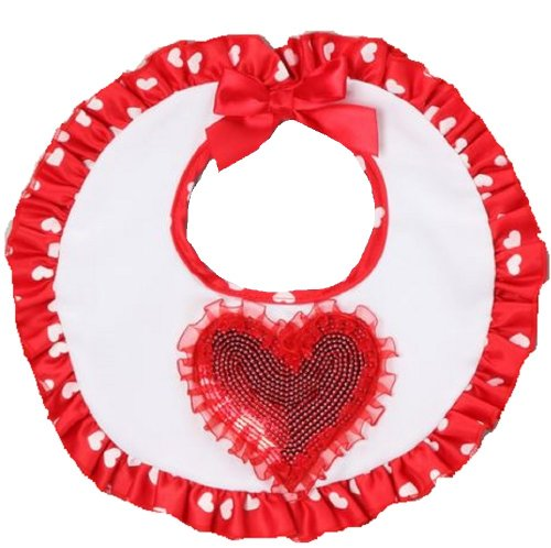 Red Lil' Love Sequin Ruffle Bib