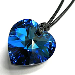 Queenberry Swarovski Crystal Bermuda Blue Heart Love Charm Pendant 18mm Black Leather 1mm Necklace 14