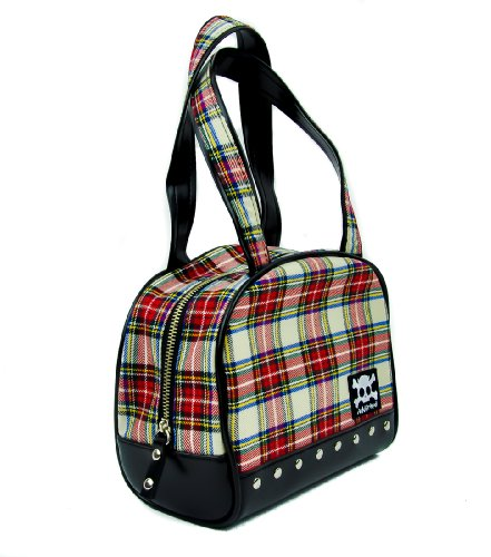 White and Red Plaid Handbag with Studs Purse
