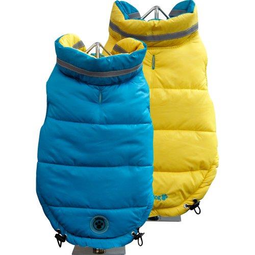 FouFou Dog Fou Ski Parka Dog Coat, Teal/Yellow, Small
