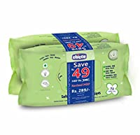 Chicco Baby Moments Wipes No Flip Cover (Twin Offer Pack, 144 Pieces per Twin Pack)