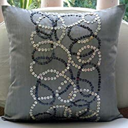 Pearl Swirls - Throw Pillow Covers - Silk Pillow Cover with Mother Of Pearl Embroidery