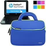 "Evecase HP Pavilion 10 10-e010nr / 10-k010nr x2 10.1""Sleeve Case, Neoprene Case Slim Briefcase w/ Handle & Accessory Pocket / Ultra Portable Travel Carrying Case Portfolio Pouch Cover - Blue"