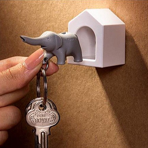 Elephant Wall Key Holder by Qualy Design Studio. White Color Elephant Home and Grey Elephant Key Fob. Cool Home Design Item. Unusual Gift. (Drill Wall Chart compare prices)