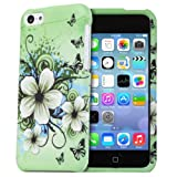 Fosmon MATT Series Rubberized Design Case for Apple iPhone 5C (Green Flower)