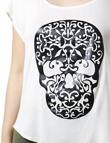Womens Trendy Stylized Filigree Skull Print Ladies Top (SMALL, WHTE)