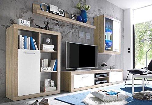 AVANTI TRENDSTORE - Mobile soggiorno in imitazione di quercia Sonoma chiaro/bianco, ca. 310/200/40 cm