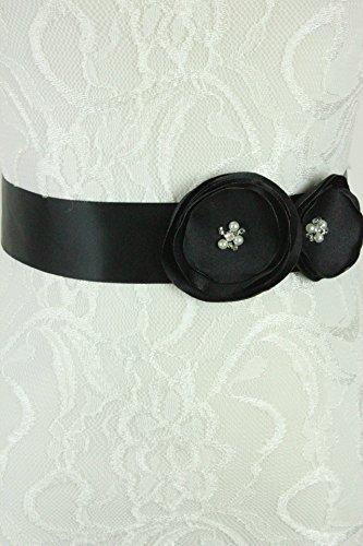 Lemandy Handmade Satin Material Sash for Wedding Dress/formal Dress (black)