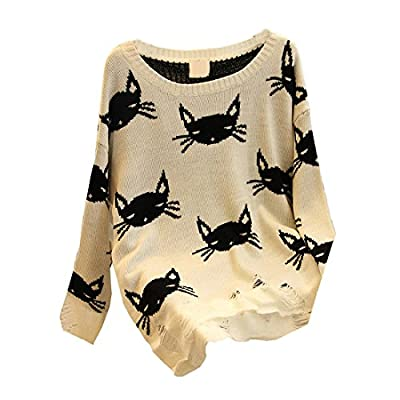 New Women Fashion Loose Hollow Knit Lady Cat Face Lennon Sweater
