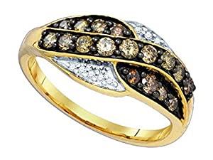 0.57 cttw 10k Yellow Gold Brown Diamond Twist Wedding Band Anniversary Ring 8mm (Sizes 3-11)