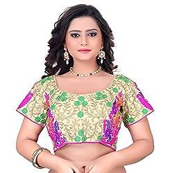 Fashionx beige cotton embroidered designer stitched blouse
