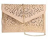 Womens Envelope Clutch Chain Foil Floral Purse Lady Handbag Shoulder Evening Bag (Khaki)