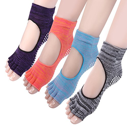 Cosfash Yoga Socks Barre Pilates Grippy Non Slip Cotton Socks for Women 4 Pack (Target Ballet Flats compare prices)
