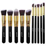 ACEVIVI Professional 10pcs Premium Synthetic Kabuki Makeup Brush Set Foundation Blending Cosmetic Brushes Essential Kit Black + Gold