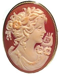 Cameo Enhancer Goddess of Music Calliope Master Carved, Shell Sterling Silver 18k Gold Overlay Italian