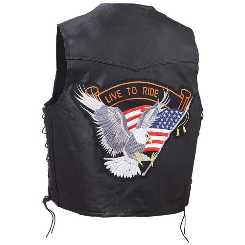 Exclusive Vests Incomparable Motorcycle Lth Vest W Ltr Eagle Patch - L Standout