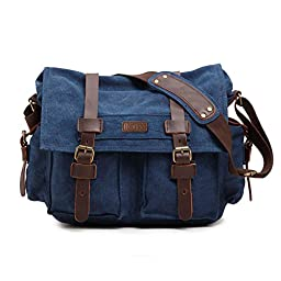 Kattee Unisex\'s Classic Military Canvas Shoulder Messenger Bag Leather Straps Fit 16\
