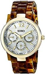 XOXO Women's XO5509 Gold-Tone Dress Watch with Tortoise-Tone Bracelet
