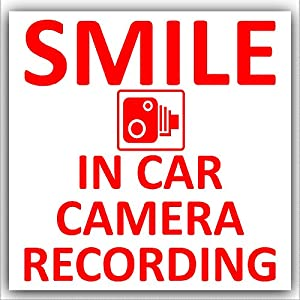1 x 87mm Smile In Car Camera Recording Sticker-Red on