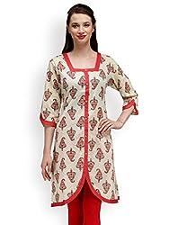 Adyana Ethnic Print Square Neck Contemporary Cotton Kurta (Medium)