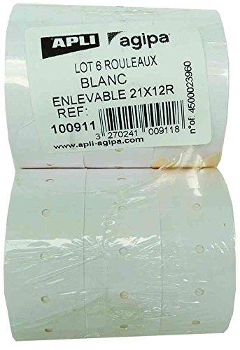 AGIPA Lot de 6 rlx 1000 Étiquettes rectangulaire 21x12 mm Permanente pour pince Blanc